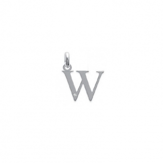 "Pendentif initiale ""W"" argent 925/000 et Oxyde de zirconium CARADOR"