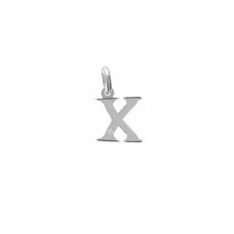 "Pendentif initiale ""X"" argent 925/000 et Oxyde de zirconium CARADOR"