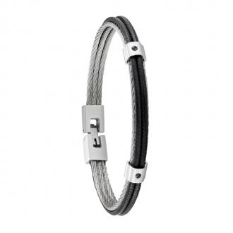 Bracelet homme FUF Jourdan Bijoux noir HB 036 H