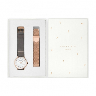 Coffret montre Rosefield West Village or rose et gris éléphant WEGTR-X184