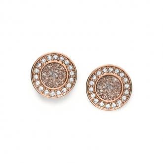 Boucles d'oreilles femme Fossil collection Classics acier doré rose JF03263791