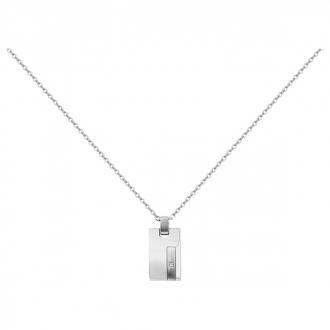 Collier Phebus acier argenté et diamants 75-0126