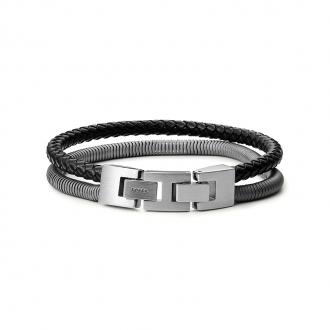 Bracelet homme Fossil collection Vintage Casual cuir et acier JF03320793