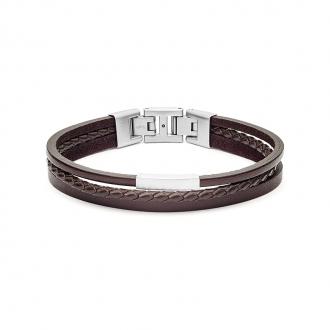 Bracelet multi-rangs Fossil collection Vintage Casual cuir et acier JF03323040