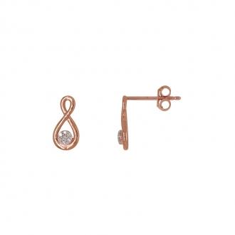 Boucles d'oreilles Atelier 17 Infini or rose 375/000 et diamant