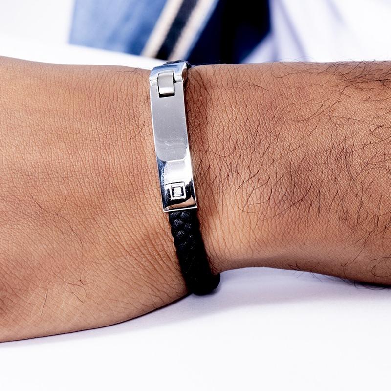 Bracelet Homme Phebus cuir tressé noir, acier et diamant 35-0956
