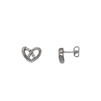 Boucles d'oreilles coeur Carador en argent 925/000 et oxydes de zirconium