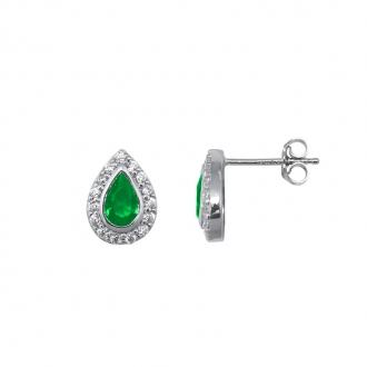 Boucles d'oreilles Carador joaillerie goutte argent 925/000, oxydes de zirconium et pierre verte