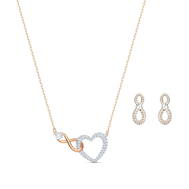 Parure Collier et Boucles d'oreilles Infinity Heart Swarovski en métal doré  rose 5521040