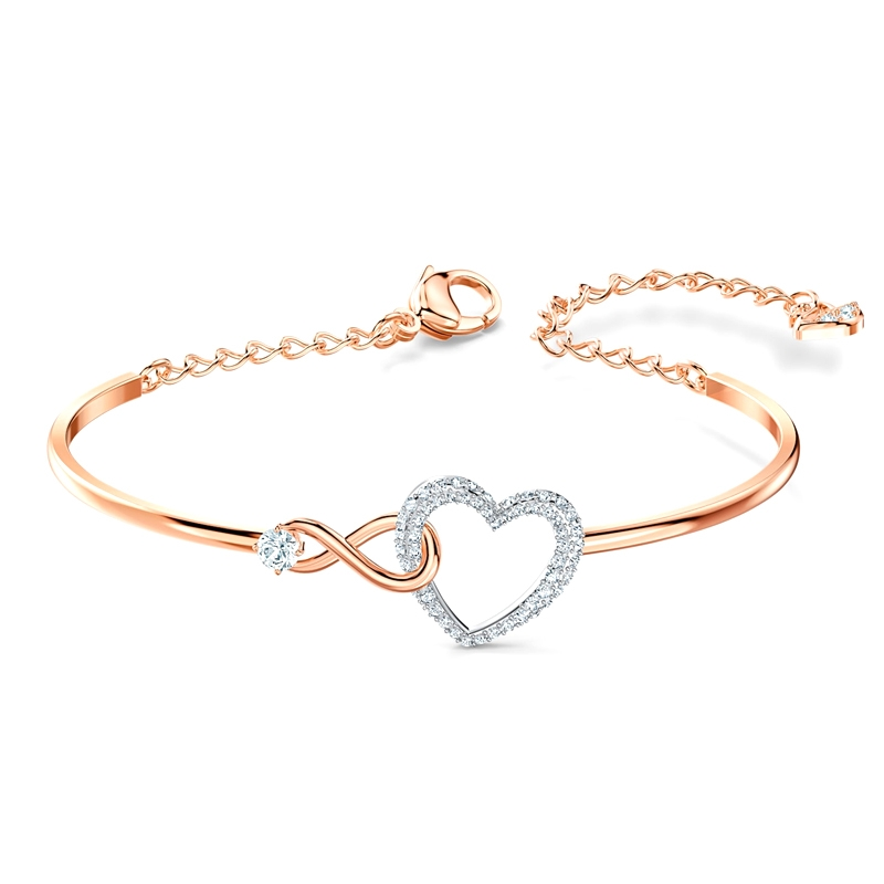Bracelet-jonc Infinity Heart Swarovski en métal doré rose 5518869