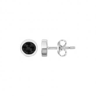 Boucles d'oreilles rondes Phebus acier et carbone 87-0018