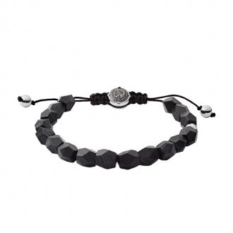 Bracelet Diesel perles d'agate noir DX1134040