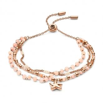 Bracelet multi-rangs Beach Girl Fossil acier doré rose et pierres de lune JF03518791