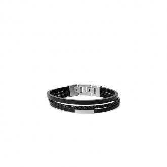 Bracelet Fossil JF03322040 à plusieures lanières en cuir noir et acier argenté