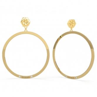 Boucles d'oreilles pivoine acier doré et cristaux de Swarovski UBE 79197 de la marque GUESS