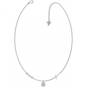 Collier avec pendentif en acier rhodié UBN79022 de la marque GUESS