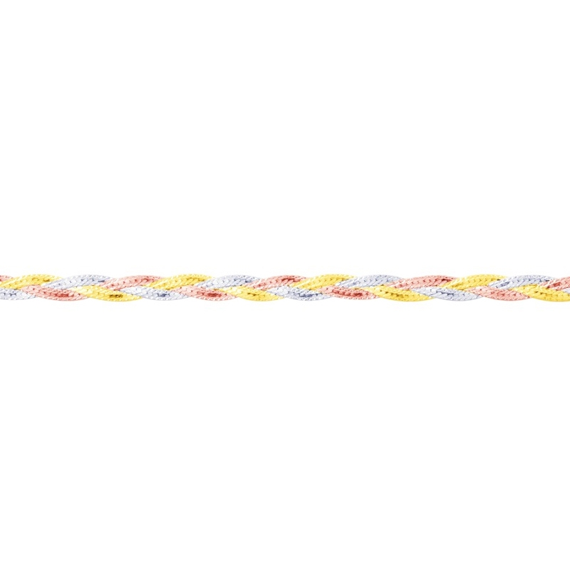 Bracelet 3 ors tresse or 375/000