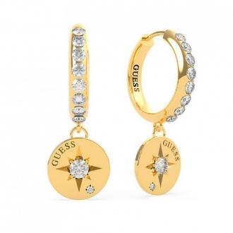 Boucles d'oreilles Guess acier doré et cristaux