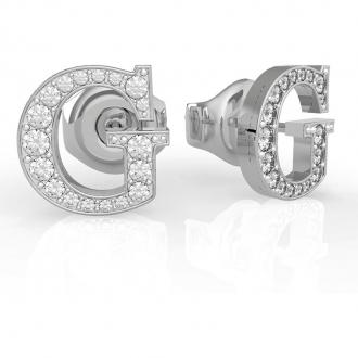 """Boucles d'Oreilles puces acier rhodié argenté lettre """"G"""""""