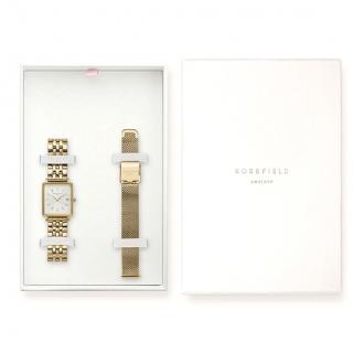 Coffret montre femme Rosefield deux bracelets acier doré