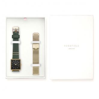 Coffret montre femme Rosefield deux bracelets acier doré et cuir