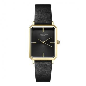 Montre femme Rosefield acier doré bracelet cuir noir
