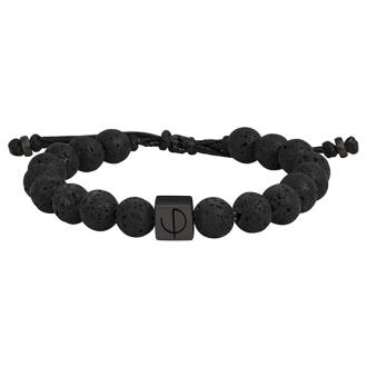 bracelet Phebus homme pierre de lave acier noir