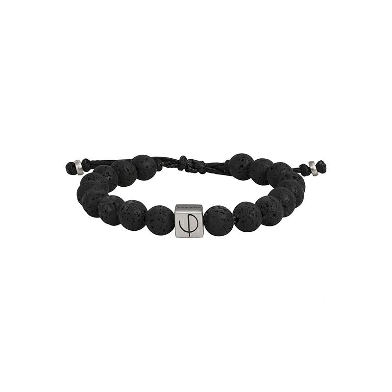 bracelet Phebus homme pierre de lave acier argenté