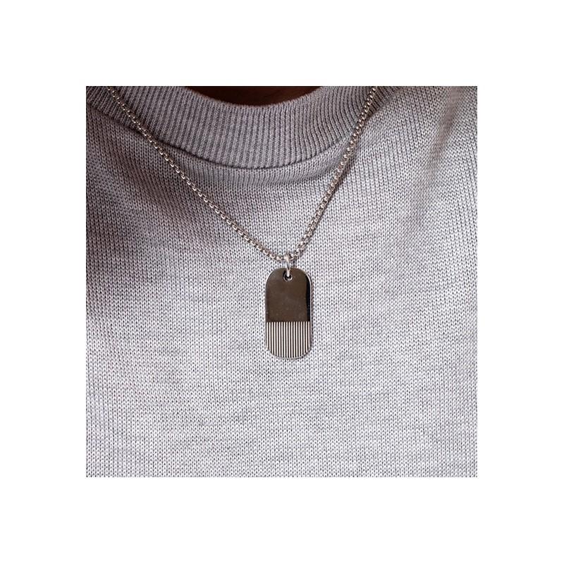 collier Phebus homme plaque argentée