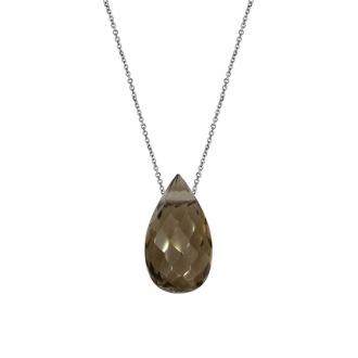 Collier argent 925/000 et pendentif de quartz fumé forme goutte