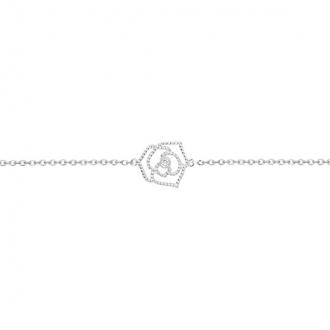 Bracelet rose perlée argent 925/000 rhodié et diamant de la marque La Garçonne