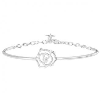 Bracelet demi-jonc rose perlée argent 925/000 rhodié et diamant de la marque La Garçonne