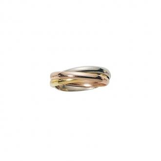 Alliance trois ors 375/000, anneaux entrelacés ruban 2.5 mm