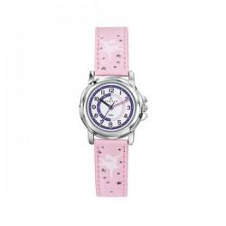 Montre Certus fille bracelet cuir rose motif ballerine