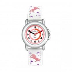 Montre Certus fille bracelet cuir blanc motif licorne