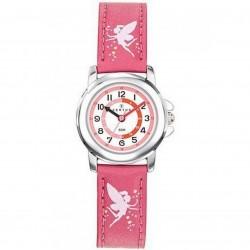 Montre Certus fille bracelet cuir rose motif fée
