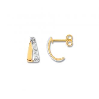 Carador - Boucles d'Oreilles Or 375/000 et Diamant 0,016 carats
