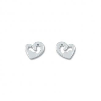 Boucles d'oreilles Carador double cœurs argent 925/000