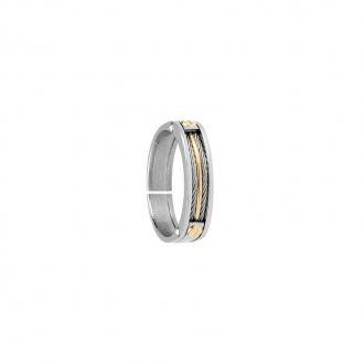 Bague anneau fantaisie Jourdan Bijoux Acier et OR 750/000 FZ 011 H