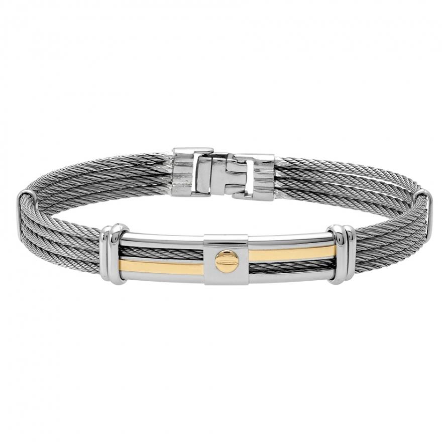 jourdan bijoux bracelet or 750 000 et acier fz 012 h pour homme. Black Bedroom Furniture Sets. Home Design Ideas