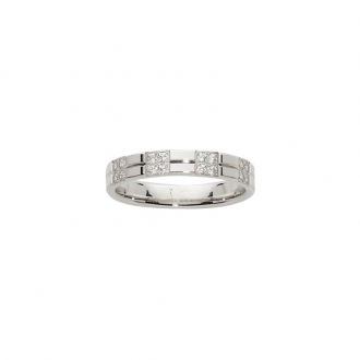 Alliance femme or blanc 375/000 SERTI PAVE 16 DIAMANTS