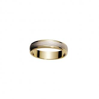Alliance Homme ruban 5 mm effet sablé Deux ors 750/000 5,68g