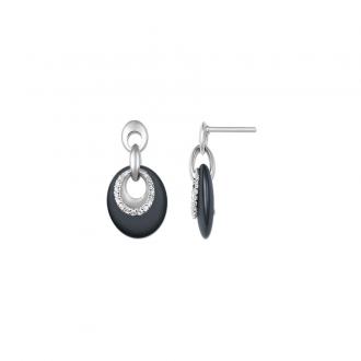 Ultimate Ceramic - Boucles d'oreilles OR 375/000, Céramique Noire, Oxyde de Zirconium
