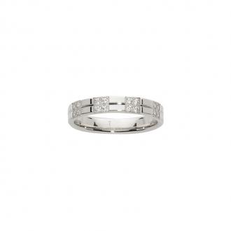 Alliance Or blanc 750/000 serti pavé 16 Diamants, 3.5 mm