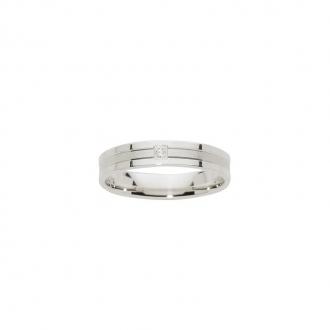 Alliance Or blanc 750/000 et diamant, 4 mm