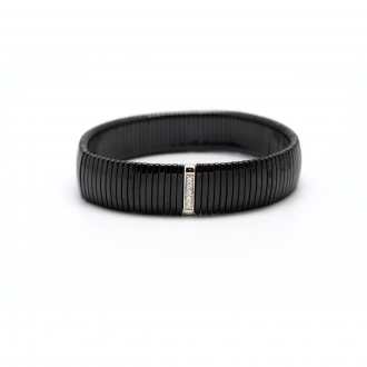 Bracelet Carador céramique noire et oxyde de zirconium largeur 13 mm