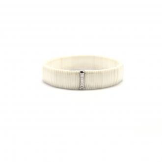 Bracelet Carador céramique blanche et oxydes de zirconium largeur 13 mm