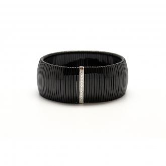 Bracelet Carador céramique noire et oxyde de zirconium largeur 23 mm