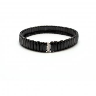 Bracelet Carador céramique noire et oxyde de zirconium largeur 9 mm