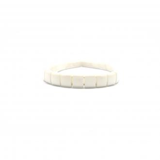 Bracelet Carador céramique blanche carrée largeur 9 mm